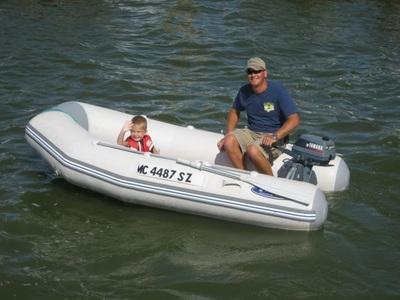 John Windemuller piloting inflatable